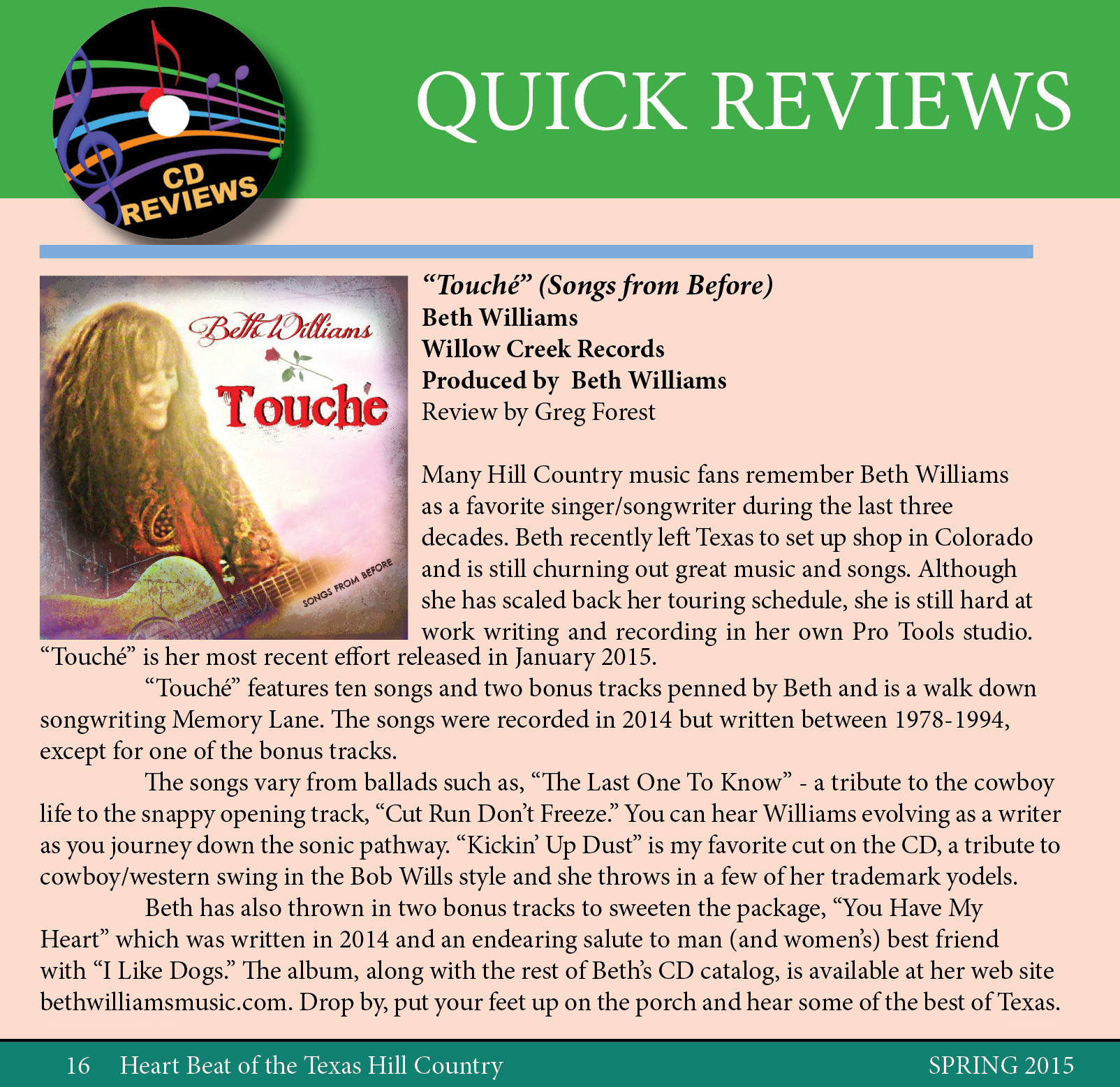 Cropped Heartbeat CD REview